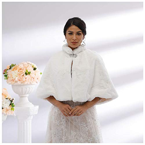 Yalice Women's Wedding Faux Fur Shawl and Wrap Bridal Fur Stole Cloak Cape Fur Scarf for Bride and Bridesmaids (White)