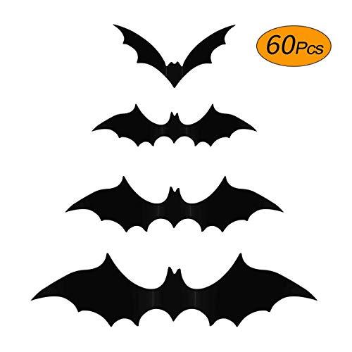 Aukier Halloween Bats Stickers, Halloween Bats Wall Decor Plastic 3D Bats Wall Decals for Halloween Home Window Indoor Decorations, 4 Sizes, Black - 60 PCS
