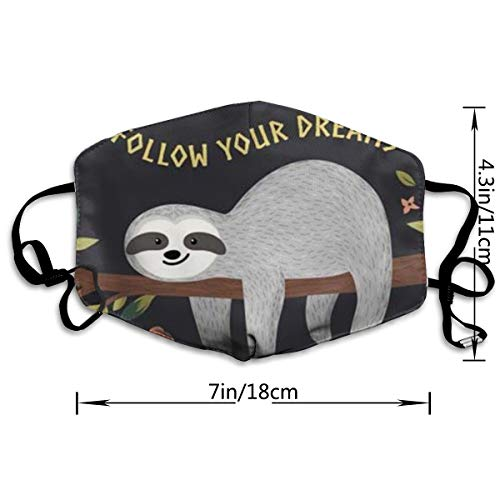NOT Sloth My Spirit Animal PM2.5 Mask, Adjustable Warm Face Mask Unique Cover Filters Blocking Pollen Pollution Germs,Can Be Washed Reusable Pollen Masks Cotton Mouth Mask for Men Women