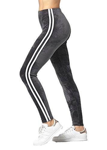 Conceited Velour Velvet Leggings for Women - A236 - Racer Stripes Charcoal Grey - Medium