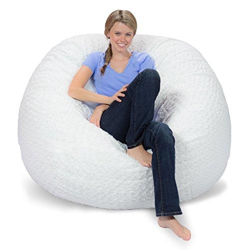 Comfy Sacks 5 Ft Memory Foam Bean Bag Chair White Furry
