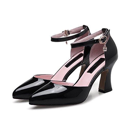 Pointed Heels Microfiber Heels Black Womens Chunky SLC03262 Square Toe Sandals AdeeSu IXqCZ
