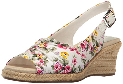 Easy Street Women's Kindly Espadrille Wedge Sandal, White Floral, 7.5 M US