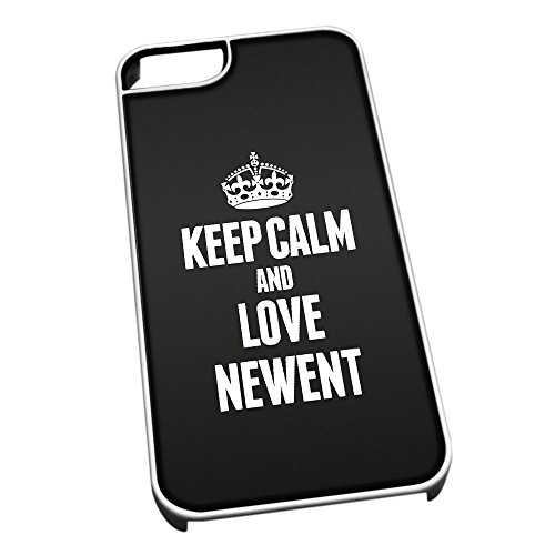 Bianco cover per iPhone 5/5S 0453 nero Keep Calm and Love Newent