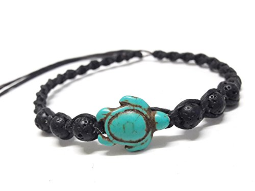 (Nove Jewelry Leather Bracelet or Anklet Sea Turtle in Turquoise - Lava Rock Stone Beads Turtle Hemp - Adjustable Cord)