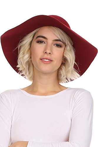 Cloche Brimmed (Sakkas WFL2166 - Cosette Womens Wool Structured Wide Brimmed Floppy Hat with Leather Band - Burgundy - OS)