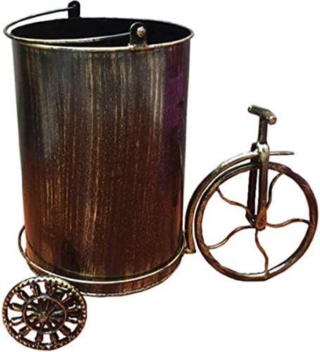 ヴィンテージの金属製のゴミ箱、ハンドル付きの蓋なしのクリエイティブバー古紙家庭用ペダルのゴミ箱
