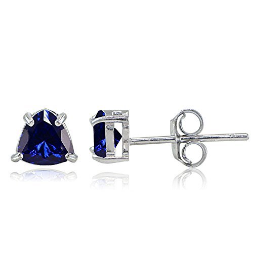 Sapphire Trillion Earrings - Sterling Silver Created Blue Sapphire Trillion-Cut Stud Earrings