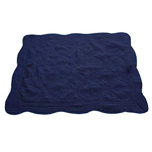 CFP Navy Baby Quilt for Boys - 100 Cotton Embossed Quilted Navy Baby Blanket, 36