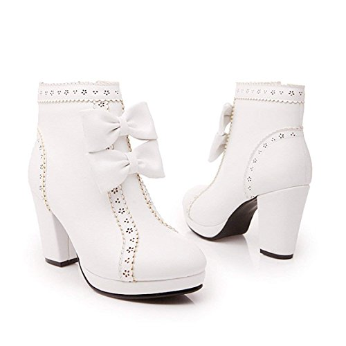 Zip Sweet Ankle Platform Womens Heels Shoes Block High White Winter Heel Bow Autumn Coolulu Boots Hgxzvq