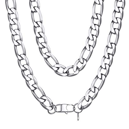 - ChainsHouse Men Boys Chunky Italian Necklace Fashion Jewelry Stainless Steel Thick Hip Hop Punk 13MM Wide Figaro Chain Necklace - 26 inches