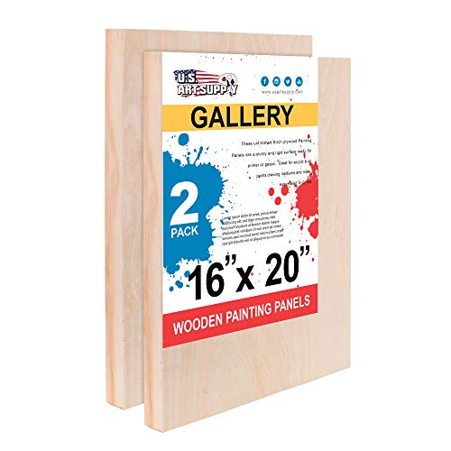 U.S. Art Supply 16 x 20 Birch Wood Paint Pouring Panel Boards, Gallery 1-1/2 Deep Cradle (Pack of 2) - Artist Depth Wooden Wall Canvases - Painting Mixed-Media Craft, Acrylic, Oil, Encaustic