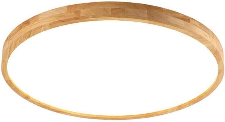Plafonnier, plafonnier nordique lampe moderne en bois, blanc chaud, rond en bois, salon, chambre à coucher, salle à manger, bureau, plafonnier de la chambre des enfants,40cm/24W/whitelight