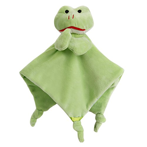 Wingingkids Baby Security Blankets Soft Plushy Cuddle Bud Blankie Breathable Snuggle Baby Blanket, Lovely Soother Blanket for Boys or Girls, Green Frog