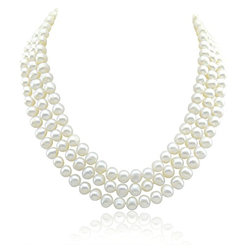 Row Pearl 3 Freshwater Cultured (3-row White A Grade Freshwater Cultured Pearl Necklace (6.5-7.5 mm) With rhodium plated base metal Clasp, 16.5