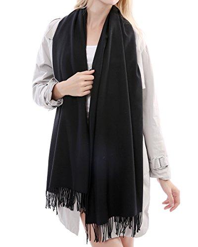 Vigeiya Solid Color Tartar Tassel Large Extra Soft Cashmere Blend Women Pashmina Warm Shawl Wrap Stole Scarf (Black) (Cashmere Solid Blend Color)