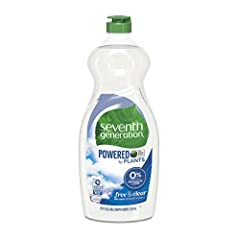 Tough on dirty dishes, not the hands that wash them. Free & Clear Seventh Generation Dish Soap cuts through grease and powers away tough residue without the use of fragrances, dyes, phosphates, or triclosan. This hypoallergenic fragrance-...