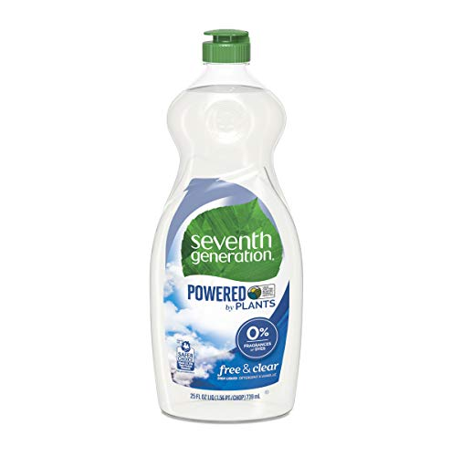 Natural Dish Liquid Soap - Seventh Generation Dish Liquid Soap, Free & Clear, 25 oz, Pack of 6 (Packaging May Vary)