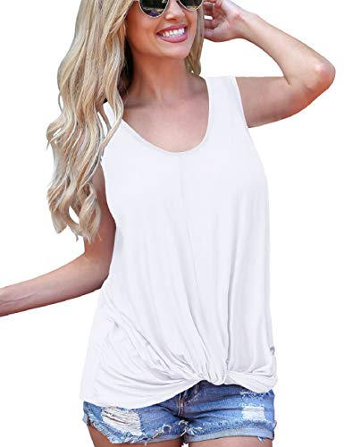 - SMALNNIE Casual Shirts for Women Sleeveless Summer Flowy Knot Tank Tops Loose Fit White M