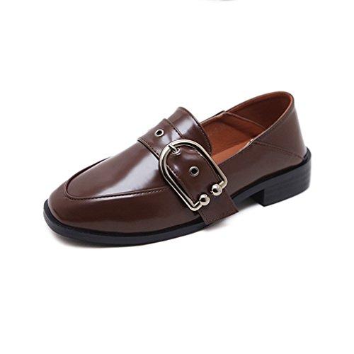Giy Kvinners Virksomhet Spenne Penny Loafers Firkantet Tå Slip-on Klassisk  Kjole Uformell Loafer Oxford