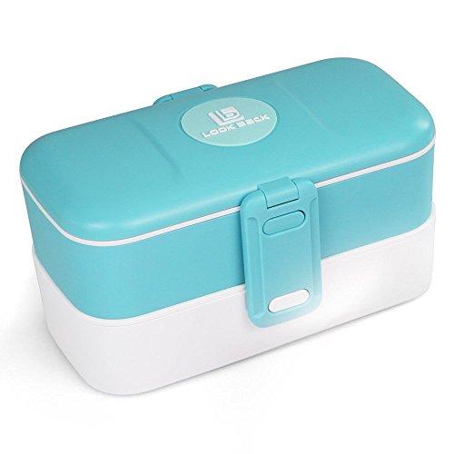 Lunchbox - mit zwei Fächern, Bento Box, Brotdose, mit Unterteilung, mit Besteck aus Edelstahl - Blau