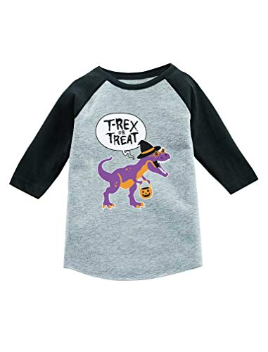 T-Rex Or Treat Trick or Treat Halloween 3/4 Sleeve Baseball Jersey Toddler Shirt 5/6 Dark Gray