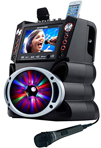 "Karaoke USA GF845 Complete Karaoke System with 2 Microphones, Remote Control, 7"" Color Display, LED Lights - Works with DVD, Bluetooth, CD, MP3 and All ()"