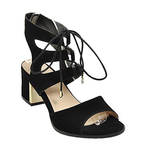 Sandali Con Tacco Medio A Tacco Alto In Pelle Stile Gladiatore Con Lacci Da Donna