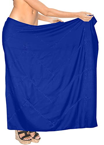 LA LEELA Frauen Rayon Hand bestickte Badebekleidung Bikini Rock 78x43inch blau Wrap