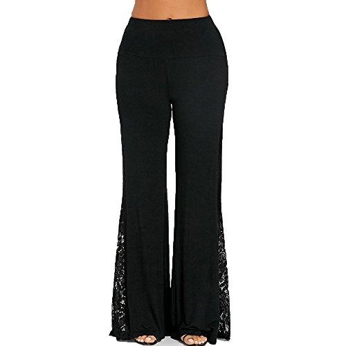 JSPOYOU Fashion Womens High Waist Lace Insert Wide Leg Pants Leggings Loose Trousers -