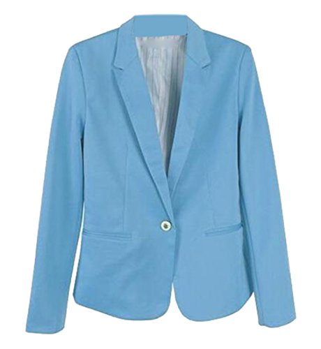 Papijam Women's Casual Lapel Single Button Plain Crop Blazer Jacket sky blue Large (Uniforms Uniform Double Peaches Breasted)