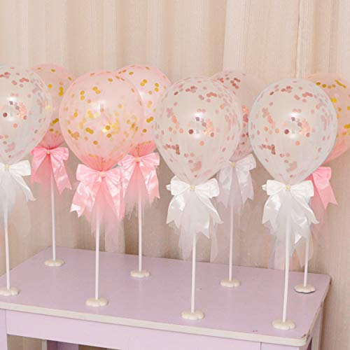 BALONAR 12 Sets of Tulle Balloons Column Base Rose Gold Confetti Latex Balloon Gold Confetti Balloons Covered Tulle Panels for Birthday Party Decoration Wedding Ceremony Baby Shower (White and -