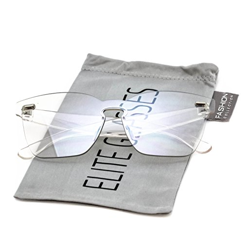 Elite One Piece Rimless Retro Sunglasses Transparent Ultra-Bold Colorful Mono Block Glasses (Clear, - Block Sunglasses