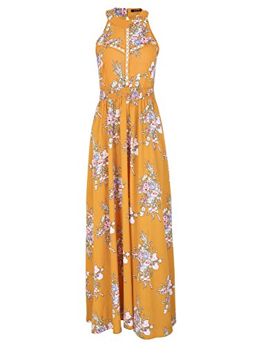 Boho Chic Dress - BerryGo Women's Chic Sleeveless Backless Halter Floral Print Maxi Dress Polyester Yellow,M
