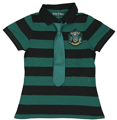 Harry Potter (Chamber of Secrets, Order of Phoenix, Deathly Hollows) Girls T-Shirt - Slytherin Striped School Uniform With Tie on Green (Extra Large) (Harry Potter Uniform Shirt)