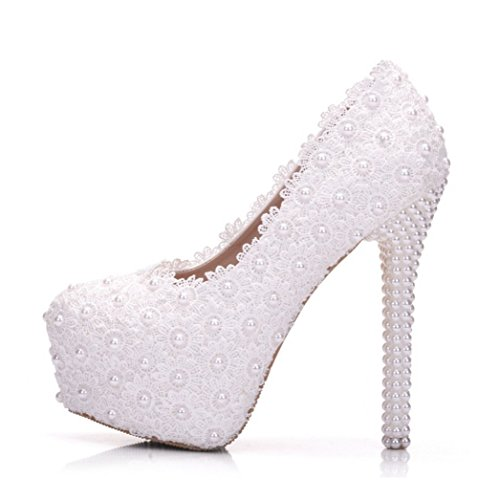 Hochzeit Party Schuhe Für Braut Frauen Spitze Faux Perlen 14CM High Heels Frühling Herbst 4.5Cm Plattform Runde Zehe Handgemachte Komfort Kleid Schuhe Weiß White