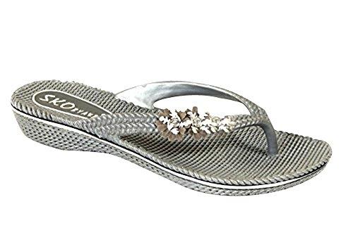 Grey Sandalen Schuhe Jelly Flip Flops Sommer Blume Größe Pantoletten Strand 630 Flach Damen IqPzZxp