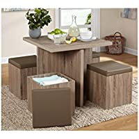 Modern Dining Room Table Set w 4 Chairs. Wood Simple Living 5-piece Baxter Storage Ottomans. Perfect Kit for Small Living Spaces. For Kitchen, Coffe, Dinning, Bar, Patio, and Picnic Storage Brown