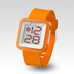 Zerone Dazzled Orange White Swarovski Crystal Digital Watch