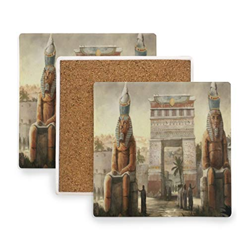 Large Square Drink Coasters,Ancient Egyptian Art And Culture Ceramic Thirsty Stone With Cork Back Cup mats Protect Your Furniture From Spills, Scratches,Water Rings and Damage 2pcs