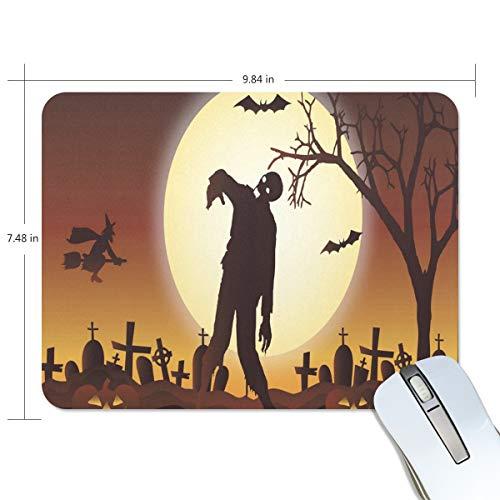 Mouse Pad Halloween Graveyard Zombie Gaming Mousepad Custom Small Thick Mouse Mat Black Special Mouse Pads ()