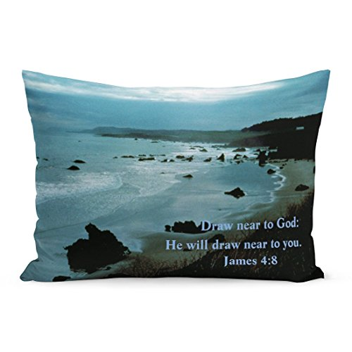 Abakoyi Throw Pillow Cover Inspirational James 8 Scripture Promises Seascape Ocean Faith Decorative Pillow Case Home Decor 20x26 Inches Pillowcase by Abakoyi