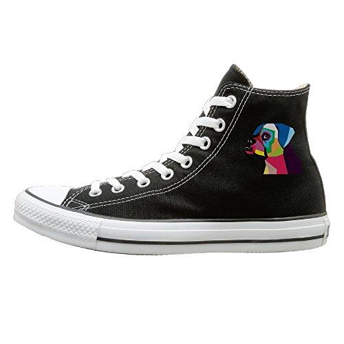 Shenigon Colourful Bulldog Canvas Shoes High Top Sport Black Sneakers Unisex Style 41