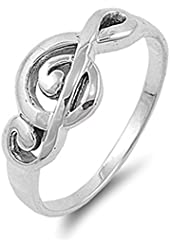 Sterling Silver Women's Treble Clef Note Fashion Music Ring Band 9mm Sizes 4-10