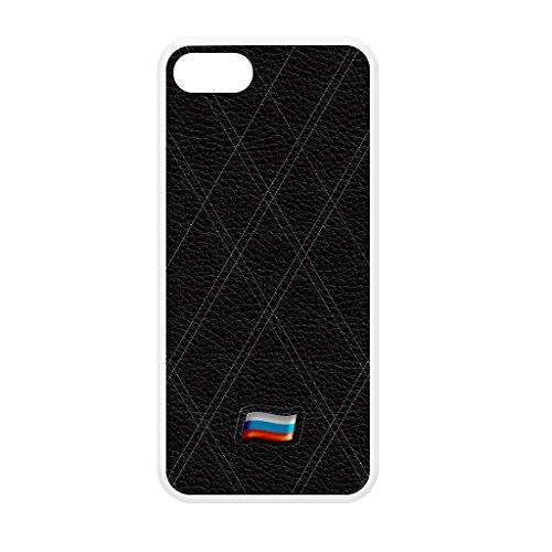 Stylish Black Leather Flag of Russian Federation - Russia Flag weiß Hülle zum Einrasten aus Silikon Gummi Schutzhülle Rückseite für iPhone 5 vom UltraFlags + wird mit KOSTENLOSER klarer Displayschutzf