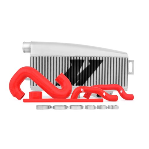 Mishimoto MMTMIC-WRX-01SLRD Subaru WRX/STI Performance Top-Mount Intercooler Kit, Silver Intercooler Red Hoses, 2002-2007