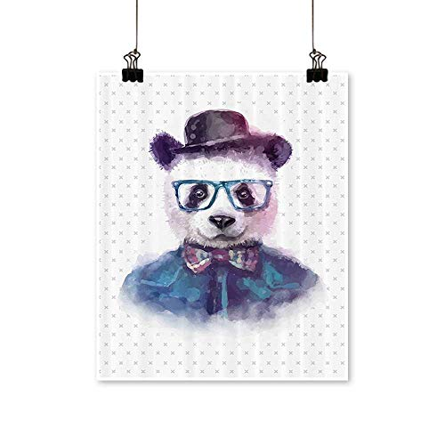 Canvas Wall Art for Bedroom Home Vintage Hipster Panda with Bow Tie Dickie Hat Horn Rimmed Glasses Watercolor Style Canvas Art Posters Prints,12