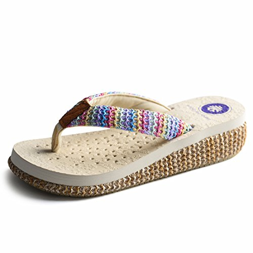 FEI Mules Summer Fashion Slippers Thick Skid Slippers Beach Cool Slippers For 18-40 Years Old Sandals Casual (Color : #1, Size : EU36/UK4/CN36) #1