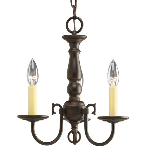 Progress Lighting P4354-20 3-Light Americana Chandelier with Delicate Arms and Decorative Center Column and Candelabra Lamps with Chain and Ceiling Mountings Included, Antique Bronze