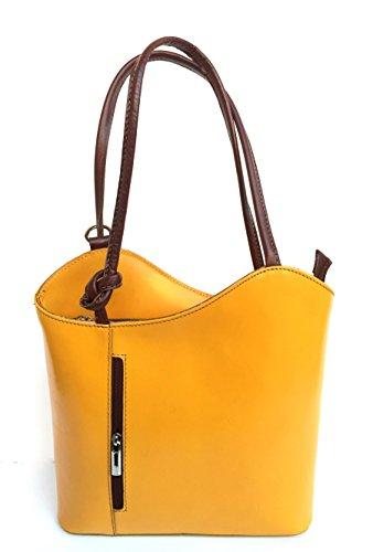 Superflybags Borsa A Mano O Zaino In Vera Pelle modello Micaela Prestige Made In Italy giallo marrone